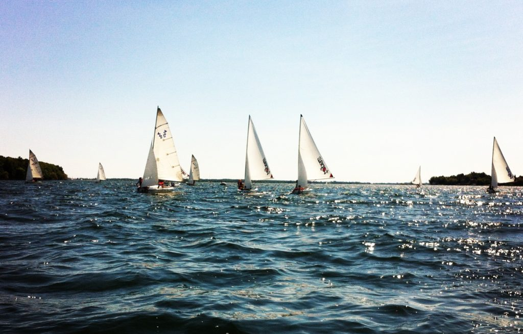 CBYC Sailing School Club 420s and Topper Topaz dinghies in action